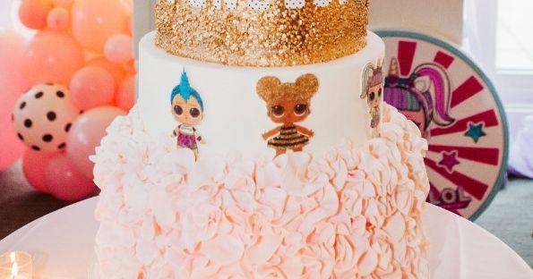 Pink ruffle birthday cake, Ruffle birthday cake, LOL Surprise birthday cake, Gold birthday cake, Gold sequin birthday cake, Tall birthday cake, Wow birthday cake, Custom birthday cake, Unicorn birthday cake, Fondant birthday cake, Amy Beck Cake Design cake, Custom cake, Specialty cake, specialty birthday cake, custom birthday cake