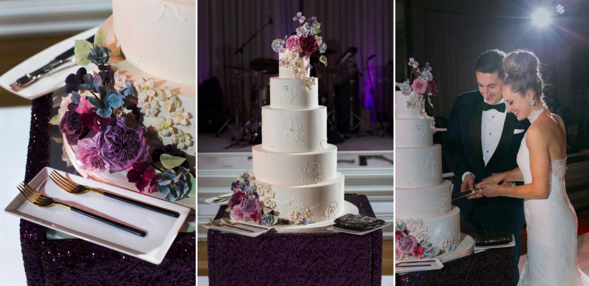 wedding cake, cake, gorgeous wedding cake, Chicago wedding cake, Chicago wedding, wedding, Fondant wedding cake, Amy Beck Cake Design wedding cake, Custom wedding cake, Specialty cake, specialty wedding cake, custom cake, five tier cake, brush embroidered cake, hand painted lace cake, lace cake, dress inspired cake, custom sugar flower cake, beautiful wedding cake, cake cutting photo