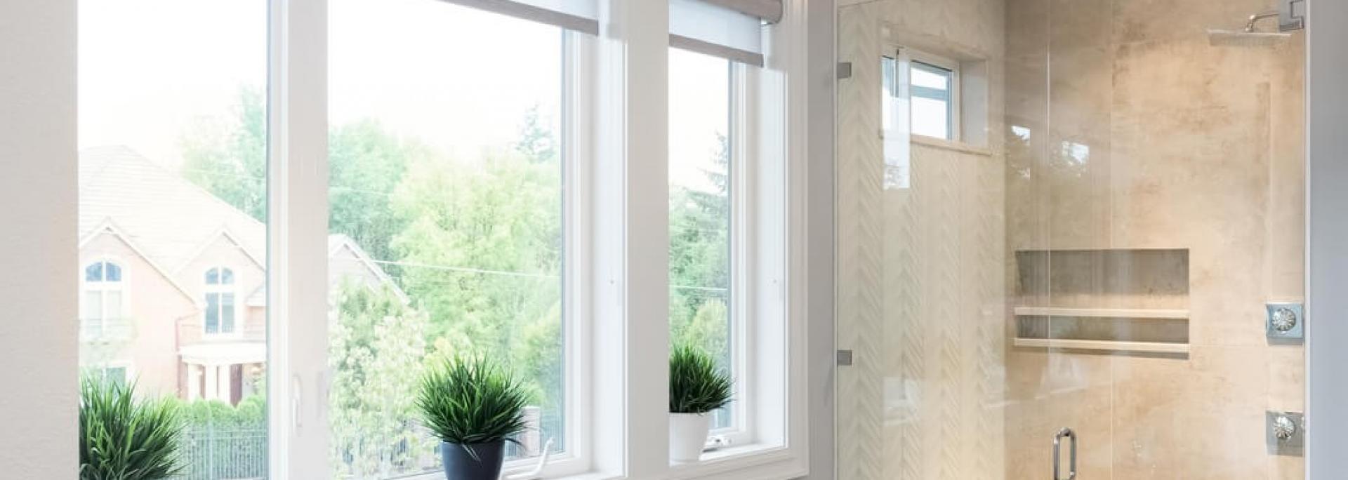 home interior, herringbone tile, large windows