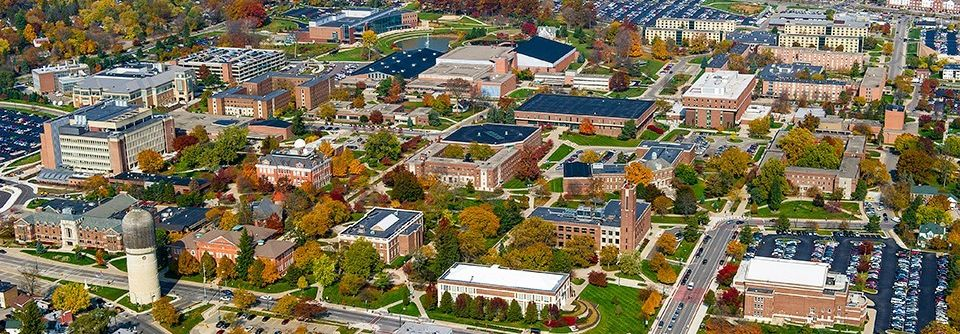 Eastern Michigan University campus aerial view