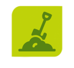 Icon of shovel and dirt on organic compost page