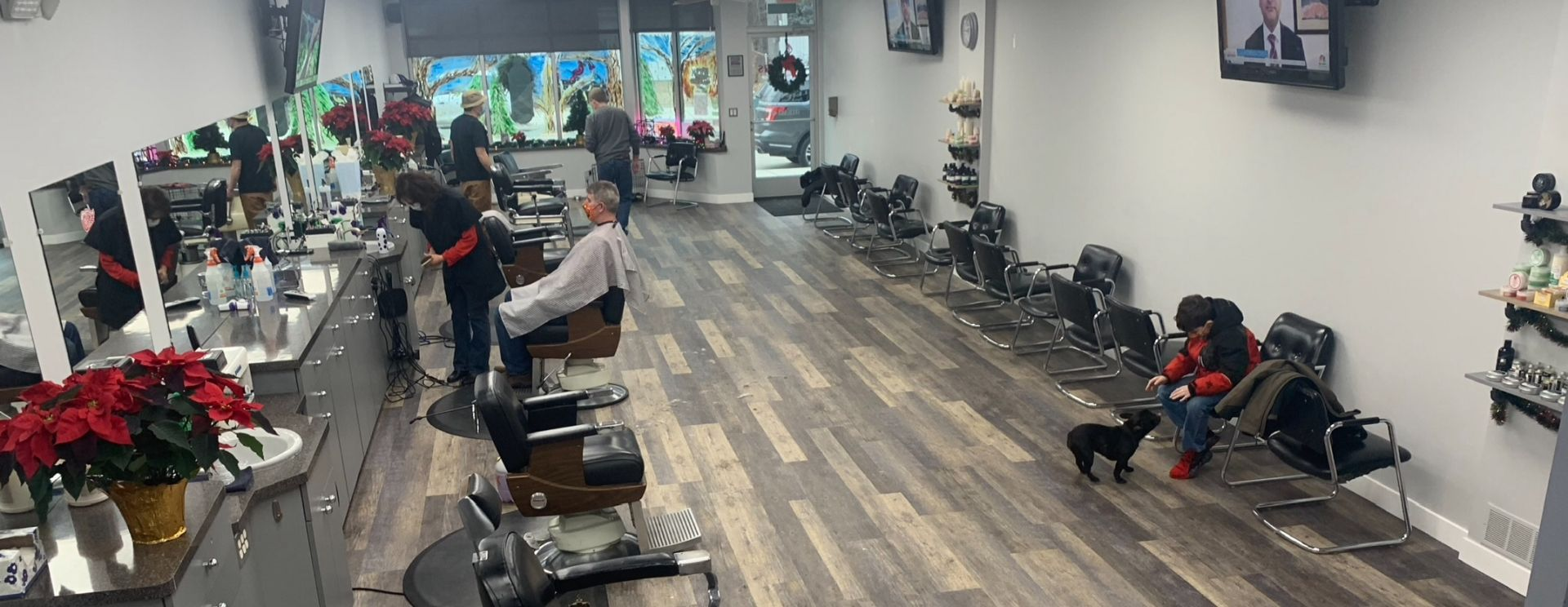 Cherry Hill Barber Shop Main Area with Stylists in Dearborn, Michigan.